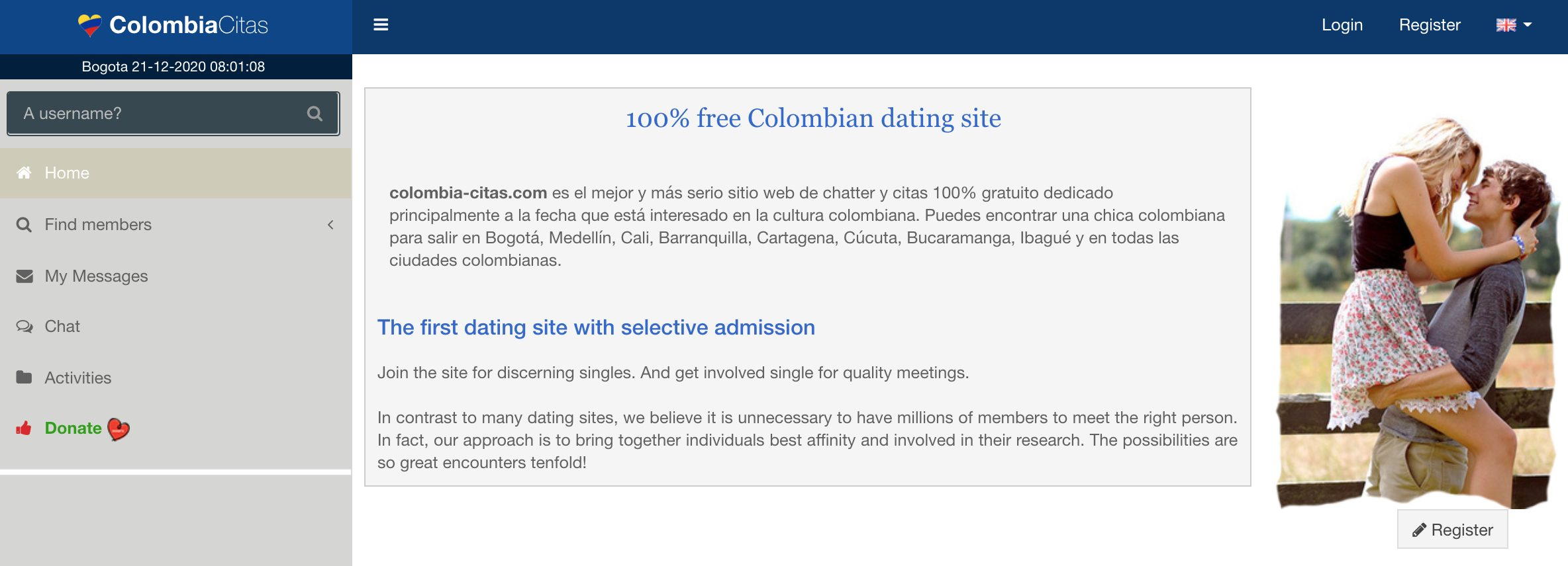 Сolombia-Citas main page