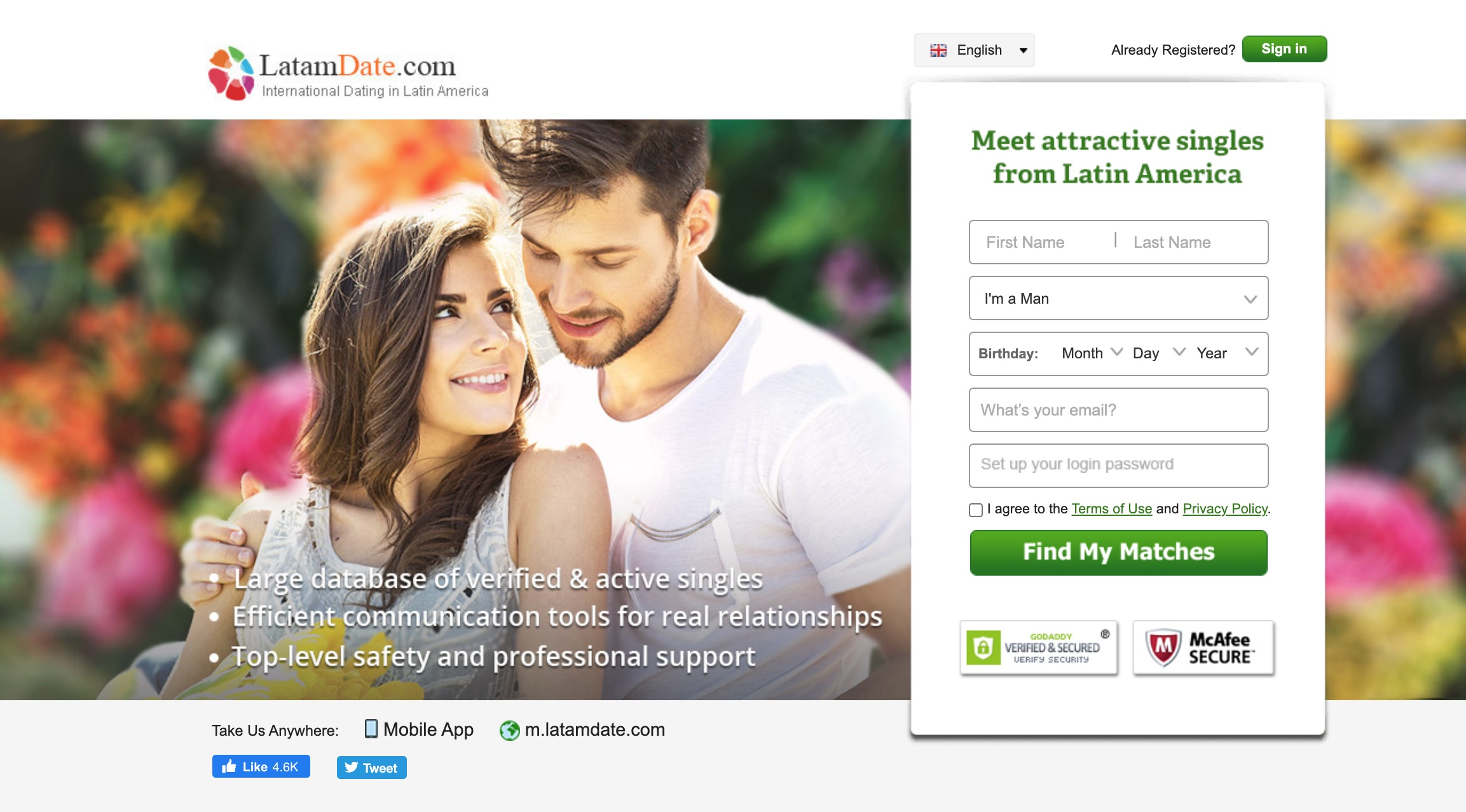 LatamDate main page